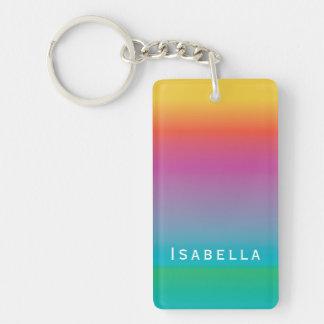 Colorful Elegant Rainbow Gradient Ombre Monogram Keychain