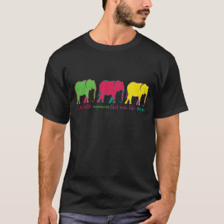 Colorful Elephant Cartoon Bright Cool Silhouettes T-Shirt