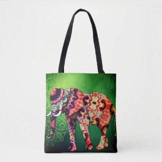 Colorful Elephant Greenery Tote Bag