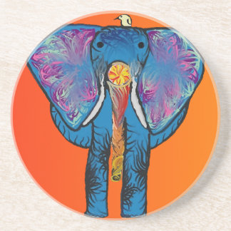 Colorful Elephant on Sandstone Coaster