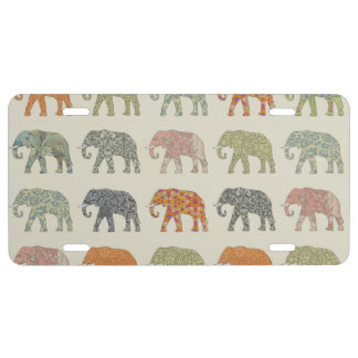 Colorful Elephant Pattern License Plate