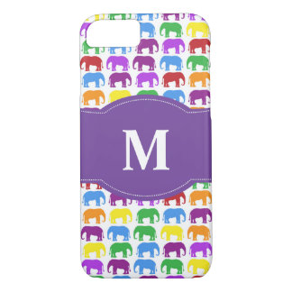 Colorful Elephant Pattern with Monogram iPhone 8/7 Case