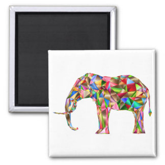 Colorful elephant square magnet