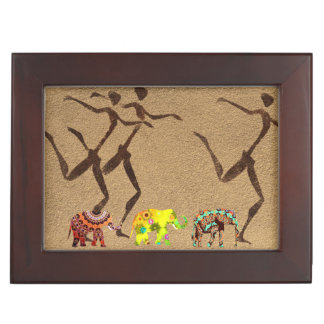Colorful Elephants African Safari Dance Keepsake Box