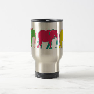 Colorful Elephants Cheerful Bright Minimal Cool Travel Mug