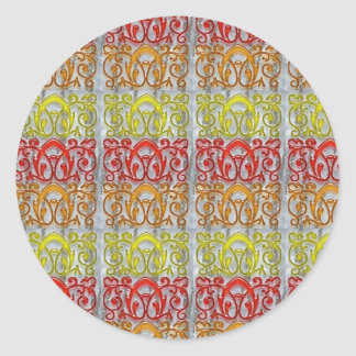 Colorful Embossed Pattern Art NVN170 navinJOSHI Round Sticker