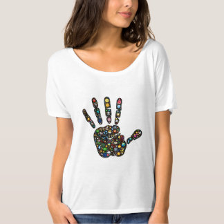 Colorful Emoji-art nature icon handprint design T-Shirt