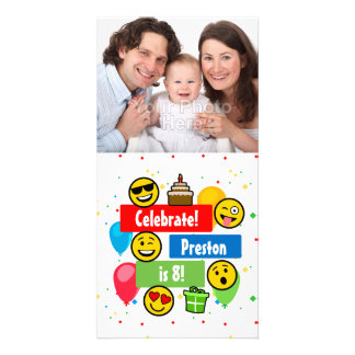 Colorful Emoji Birthday Party Kids or Boys Custom Card