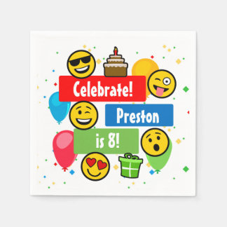 Colorful Emoji Birthday Party Kids or Boys Custom Paper Napkin