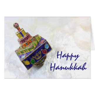 Colorful enameled dreidel Hanukkah card