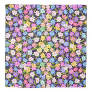 Colorful English Garden Flowers Duvet Cover
