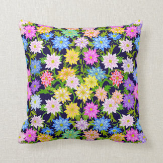 Colorful English Garden Flowers Pillow