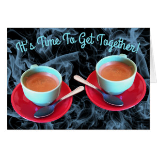 Colorful Espresso Cup and Saucer Photograph Card
