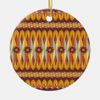 Colorful ethnic pattern round ceramic ornament