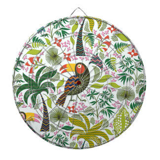 Colorful Exotic Bird And Flowers Pattern Dartboard