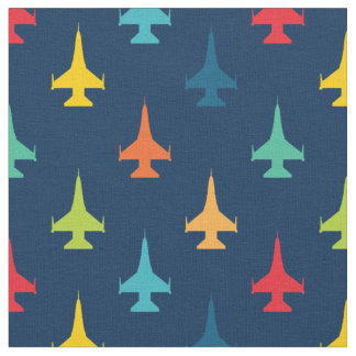 Colorful F-16 Viper Fighter Jet Pattern Primaries Fabric