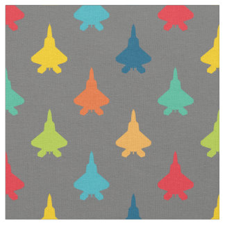Colorful F-22 Raptor Fighter Jet Pattern Primaries Fabric