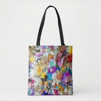 colorful fabric collage tote bag