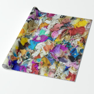 colorful fabric collage wrapping paper