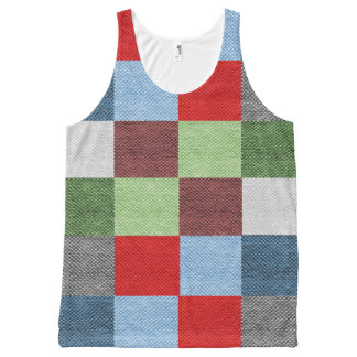 Colorful Fabric Style Squares Pattern All-Over-Print Tank Top