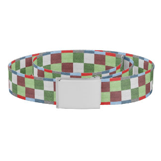 Colorful Fabric Style Squares Pattern Belt