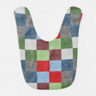 Colorful Fabric Style Squares Pattern Bib