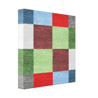 Colorful Fabric Style Squares Pattern Canvas Print