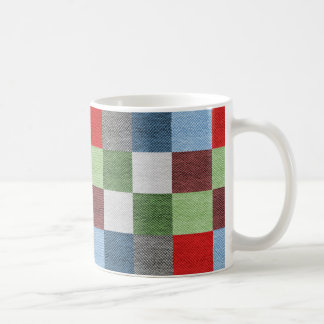Colorful Fabric Style Squares Pattern Coffee Mug