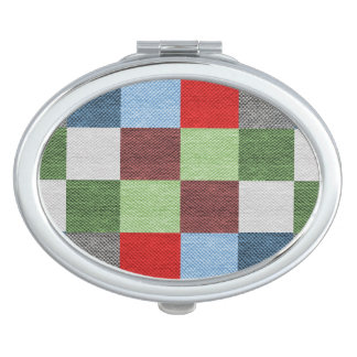 Colorful Fabric Style Squares Pattern Compact Mirror