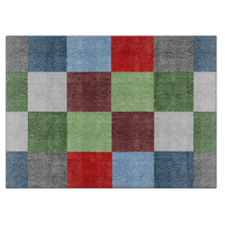 Colorful Fabric Style Squares Pattern Cutting Board