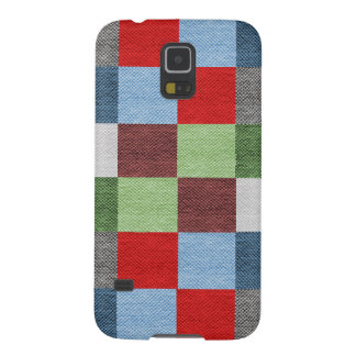 Colorful Fabric Style Squares Pattern Galaxy S5 Case