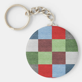 Colorful Fabric Style Squares Pattern Keychain