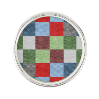 Colorful Fabric Style Squares Pattern Lapel Pin