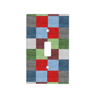 Colorful Fabric Style Squares Pattern Light Switch Cover