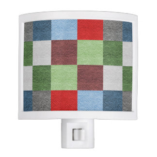 Colorful Fabric Style Squares Pattern Night Lite
