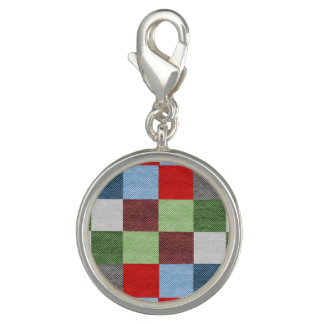 Colorful Fabric Style Squares Pattern Photo Charm