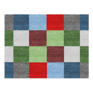 Colorful Fabric Style Squares Pattern Postcard
