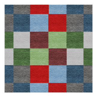 Colorful Fabric Style Squares Pattern Poster