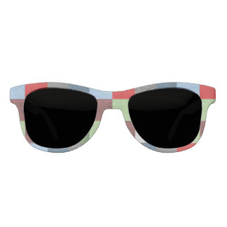 Colorful Fabric Style Squares Pattern Sunglasses