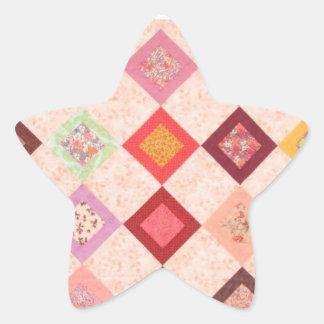 Colorful Fabrics Pattern Star Sticker