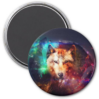 Colorful face wolf 3 inch round magnet