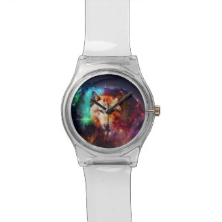 Colorful face wolf watch