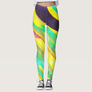Colorful Faded Poured-Paint Abstract - Leggings