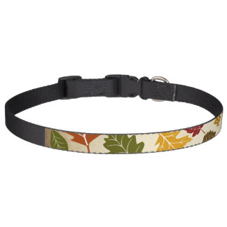 Colorful Fall Autumn Tree Leaves Pattern Dog Collar