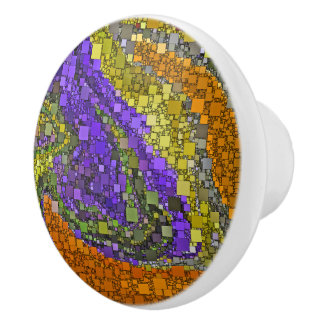 Colorful Fall Bouquet Geometric Design Ceramic Knob