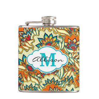 Colorful Fall Floral Pattern Personalized Hip Flask