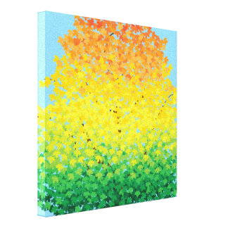 Colorful Fall Foliage Maple Leaves Ombre Pattern Canvas Print