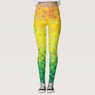 Colorful Fall Foliage Maple Leaves Ombre Pattern Leggings