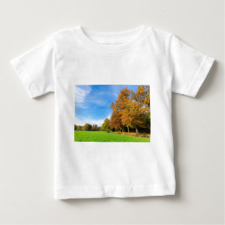 Colorful fall landscape with trees sky and meadow baby T-Shirt