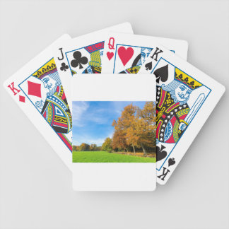Colorful fall landscape with trees sky and meadow poker deck